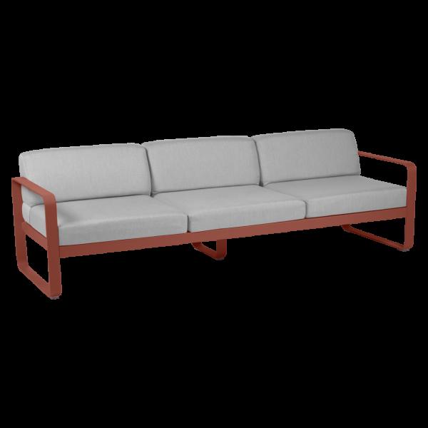 Bellevie Sofa 3-Sitzer Kissen Flanellgrau Ockerrot