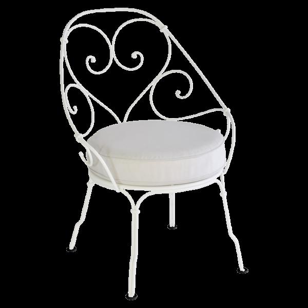 Sessel Cabriolet - Grauweiß Kissen 1900 Baumwollweiß