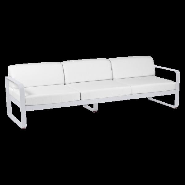 3-Sitzer Sofa Bellevie - Baumwollweiß Kissen Grauweiß