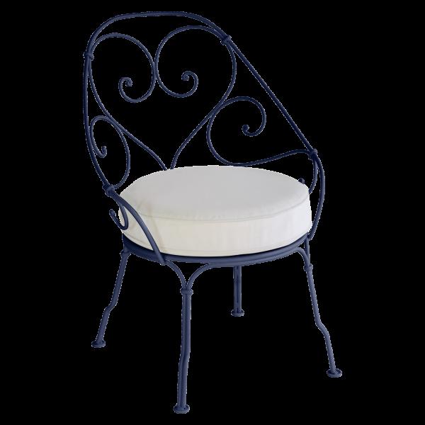 Sessel Cabriolet - Grauweiß Kissen 1900 Abyssblau