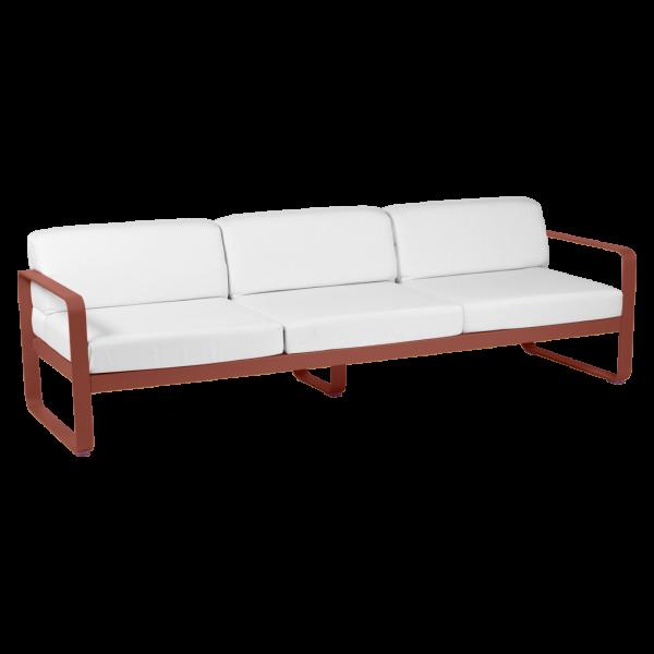 3-Sitzer Sofa Bellevie - Ockerrot Kissen Grauweiß