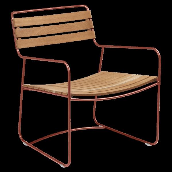 Surprising Teak-Tiefer Sessel Ockerrot