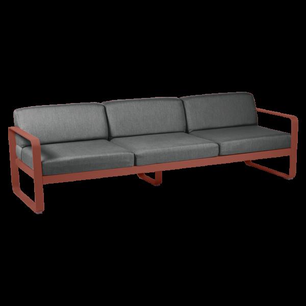 Bellevie Sofa 3-Sitzer Kissen Graphitgrau Ockerrot